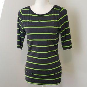 Rue21 : Lime Stripe Half Sleeve Top Large
